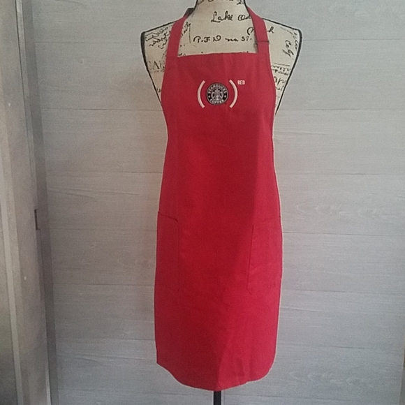 """Starbucks Apron Two Pockets """"RED"""" - Has Some Marks"""